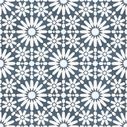 Moroccan style, Fes encaustic tile with an explosion of white flowers on a background of teal blue is absolutely stunning to the eye and a fabulous feature floor tile. Floor view - Rever Tiles.