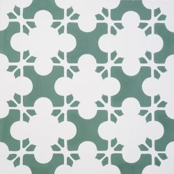 Bring coolness and verve to a space with our Nevada encaustic tile in mid-toned, nature inspired winter green with white. Single tile view - Rever Tiles.