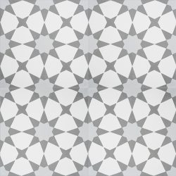 Handmade ESTRELLA encaustic tile, a highly patterned and distinctly Moroccan tile in grey and white, four tile view - Rever Tiles.