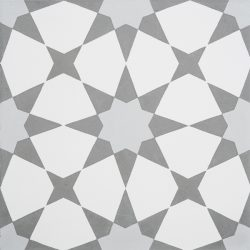 Handmade ESTRELLA encaustic tile, a highly patterned and distinctly Moroccan tile in grey and white, single tile view - Rever Tiles.