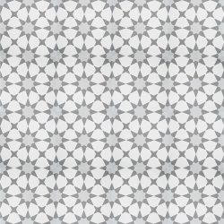 Handmade ESTRELLA encaustic tile, a highly patterned and distinctly Moroccan tile in grey and white, floor view - Rever Tiles.