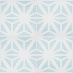 Create a calming oasis with our Safi encaustic tile, the soft, summer-fresh shade of azure mist combined with white is a timeless choice. Four tile view - Rever Tiles.