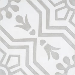 Handmade AZTEC decorative encaustic tile, with light grey on white and soft contrast in a pattern that is not overbearing, single tile view - Rever Tiles.