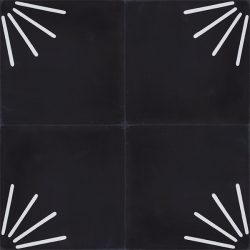 Palo encaustic tile in black and white is incredibly versatile and effective. Cluster the elements into a radial design or only in part thereby creating a symbolic sun rise, alternatively go random and create that one-of-kind space. Four tile view - Rever Tiles.