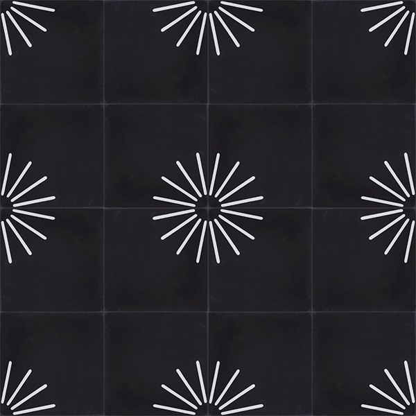 Palo encaustic tile in black and white is incredibly versatile and effective. Cluster the elements into a radial design or only in part thereby creating a symbolic sun rise, alternatively go random and create that one-of-kind space. Floor view - Rever Tiles.