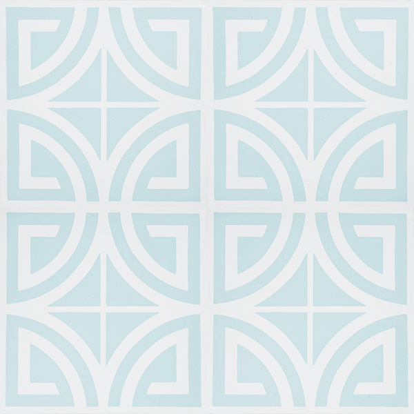 Our SARRIA encaustic tile in azure mist and white is just the tile to transform your space from casual beachside to sophisticated coastal style. Four tile view - Rever Tiles.