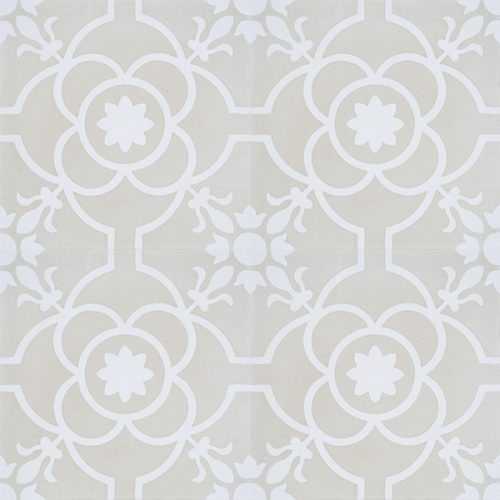 Handmade French patterned Versailles encaustic tile with delicate white detail on a neutral cream background, four tile view - Rever Tiles.