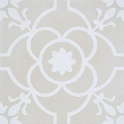 Handmade French patterned Versailles encaustic tile with delicate white detail on a neutral cream background, single tile view - Rever Tiles.