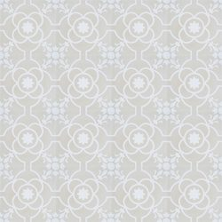 Handmade French patterned Versailles encaustic tile with delicate white detail on a neutral cream background, floor view - Rever Tiles.