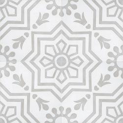 Handmade AZTEC decorative encaustic tile, with light grey on white and soft contrast in a pattern that is not overbearing, four tile view - Rever Tiles.