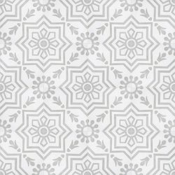 Handmade AZTEC decorative encaustic tile, with light grey on white and soft contrast in a pattern that is not overbearing, floor view - Rever Tiles.