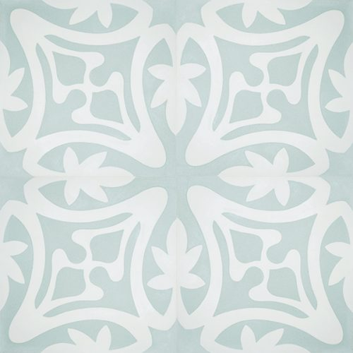 Rana encaustic tile in soft green with white, has fluidity and balance and instantly adds soul and life to a space, a fabulous bathroom, laundry, or entryway tile. Four tile view - Rever Tiles.