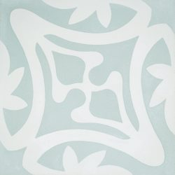 Rana encaustic tile in soft green with white, has fluidity and balance and instantly adds soul and life to a space, a fabulous bathroom, laundry, or entryway tile. Single tile view - Rever Tiles.