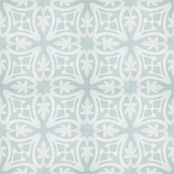 Rana encaustic tile in soft green with white, has fluidity and balance and instantly adds soul and life to a space, a fabulous bathroom, laundry, or entryway tile. Floor view - Rever Tiles.